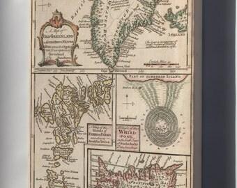 Canvas 16x24; 1747 Bowen Map Of The North Atlantic Islands, Greenland, Iceland, Faroe Islands (Maelstrom)