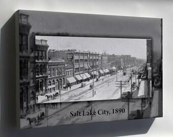 Canvas 16x24; Main Street 1890 Salt Lake City Utah