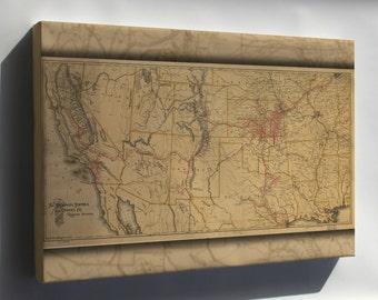 Canvas 16x24; Map Atchison Topeka & Santa Fe Railroad 1899 P10