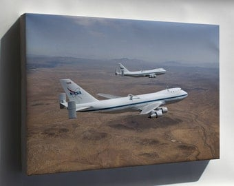 Canvas 16x24; Nasa Modified Boeing 747 Space Shuttle Carriers 905 And 911
