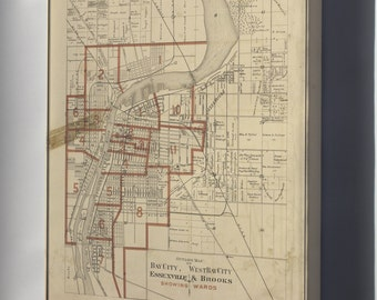 Canvas 16x24; Map Of Bay City Michigan 1896