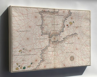 Canvas 16x24; Map Of Spain And Straits Of Gibraltar 1544