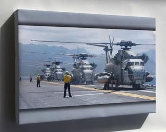 Canvas 16x24; Ch-53D Sea Stallions Uss Bonhomme Richard (Lhd 6)