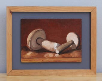 Wild Mushrooms Painting, original framed oil painting still life on board by Aleksey Vaynshteyn