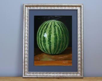 Watermelon Original Oil Painting Still Life by Aleksey Vaynshteyn