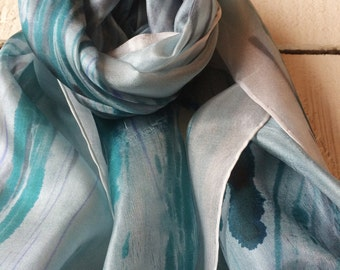 Silk scarf, silk, hand painted silk scarf, hand painted silk, womens scarf, mens scarf, ooak scarf