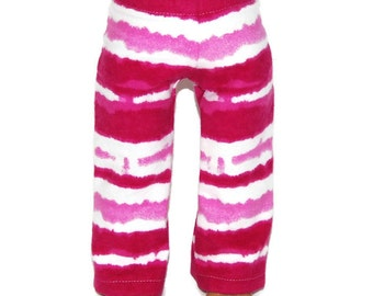 """Pink Tie Dye Flannel Pajama Bottoms - Doll Clothes fits 18"""" American Girl Dolls"""