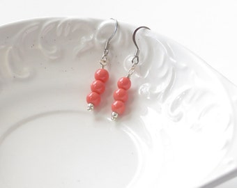 Pink Coral Beaded Earrings, Drop Earrings, Everyday Earrings, Valentine's Day, Gifts for Her, Dainty Earring, Ready to Ship, Coral & Silver