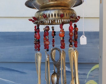 Vintage Shabby Chic Kitchenware Silverware and Glass Bead Wind Chime REDS & ORANGE