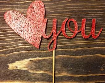 Heart you cake topper
