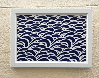 Linocut framed sea