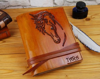 Leather Horse Journal, Leather Notebook, Leather diary, Personalized Journal, Handmade Journal, A5 Journal Gift for Her Gift for Him TiVergy