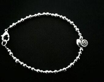Sterling silver 925 plated Ammonite shell bead bracelet UK