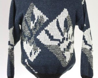 ON SALE Vintage 80s Navy Acrylic Cosby Geometric Sweater M