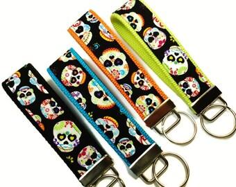Keychain, Key Fob, Sugar Skulls, Fabric Key Chain, Fabric Keychain, Fabric Key Fob, Fabric Key Holder, Key Chain, Wrist Key Holder
