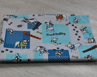 cotton blue french bulldog fabric 1/2 yard