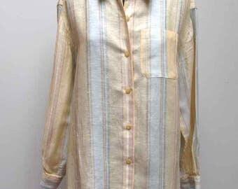 Liz Claiborne LizSport Yellow Striped Linen Blend Women's Long-Sleeved Shirt Size M