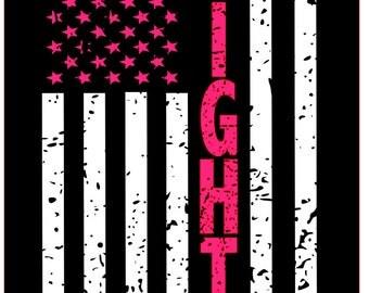 Fight Distressed Flag SVG File, Quote Cut File, Silhouette File, Cricut File, Vinyl Cut File, Stencil