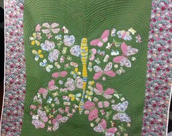 220x240 cm Hand Quilted, Hand Applique Butterfly Pattern Quilt throw