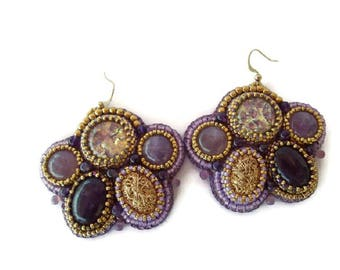 Amethyst and Gold embroidered earrings, Purple and Golden earrings, Romantic earrings
