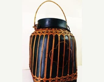 "122--Large vintage Bali or  Thai Indo-Chin Bamboo wicker woven painted green basket w. lid 15x21""h, w. handle 29"""