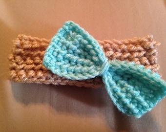 Crocheted Newborn/Infant Earwarmer with Bow