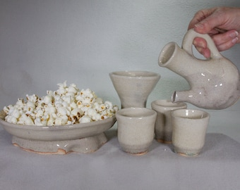 Khaki Colored Ethiopian Style Coffee & Popcorn Set wit Incense Burner and Three Small Cups
