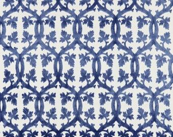 SCALAMANDRE FALK MANOR House Trellis Cut Velvet Fabric 10 Yards Lapis Blue