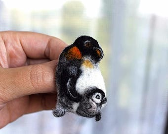 needle felted Penguin brooch Mother's Day Gift Womens girlfriend Gifts for her gift kids felting wool EXCLUSIVE live brooch lover eco gift