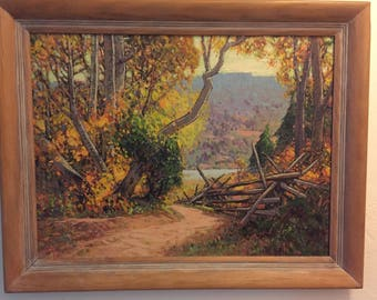 """Irion Shields Original Signed Oil Painting California Landscape """"The Water Trail"""" 1958 Famous Plein Air Mid Century Artist Sierra Nevada Mts"""