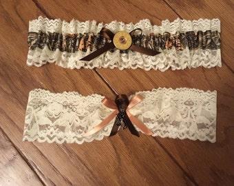 Realtree camo - Browning inspired - hunting shot gun - wedding garter set