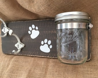 Rustic Reclaimed Wood Dog leash holders w/treat jar/dog collar holder/dog leash hanger/dog treat and leash holder with hook/pet gift