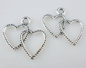 40/300pcs Tibetan Silver DIY Crafts heart Love Charms Pendants 23x24mm