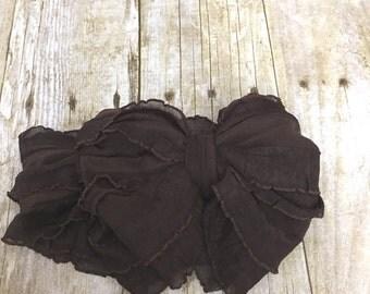 Ruffle Headband- Brown Ruffle Headband- Brown  Headband- Brown Ruffles- Headband- Large Bow Headband- Brown  Ruffle Bow