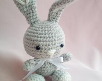 Bunny rabbit crochet amigurumi toy baby bunny animal toy gray
