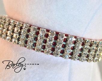 """Red Elegance Rhinestone Dog Cat Pet Collar - 4 Row Preciosa® Crystal 5/8"""" Wide 12"""" 14"""" 16"""""""