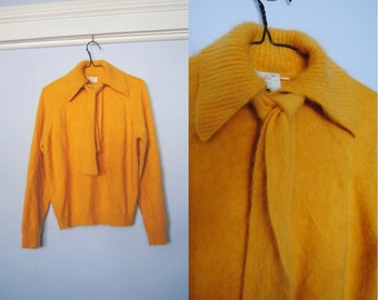 Vintage French Angora Sweater With Collar, Soft Knit Pullover - mustard yellow, bow tie, tie neck, fuzzy sweater, 75% angora, 1970s 70s