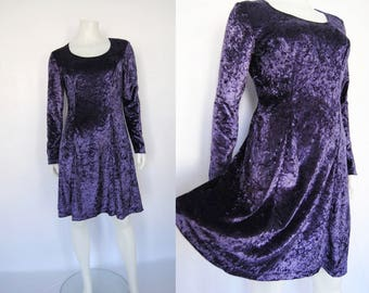 90s crushed velvet dress, vintage purple babydoll dress -- violet, mini dress, babydoll dress, long sleeve, 90s grunge, 1990s 90s clothing