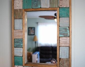 Hand Painted Driftwood Rectangular Mirror, Rustic Decor, Beach House, Reclaimed Wood, Nautical Mirror