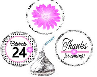 24th Birthday / Anniversary Pink Black Polka Dot Party Favor Hershey Kisses Candy Stickers / Labels -216ct