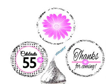 55th Birthday / Anniversary Pink Black Polka Dot Party Favor Hershey Kisses Candy Stickers / Labels -216ct