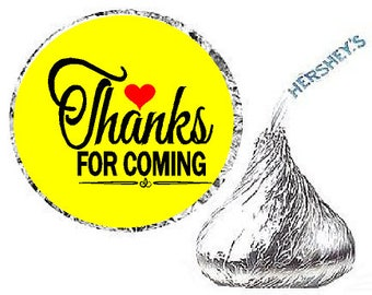 Thanks for Coming Yellow Heart Party Favor Hershey Kisses Candy Stickers / Labels -216ct