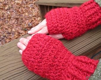 Fingerless Gloves, Red Crochet Gloves, Handmade Gloves, Homespun, Winter Accessory, Women's Gift, Fashion Accessory