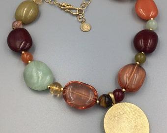 Liz Claiborne Chunky Stone Necklace, Removable Pendant, Gold Medallion, Tigers Eye Bead, Green Quartz, Lucite Beads, Vintage 1980s