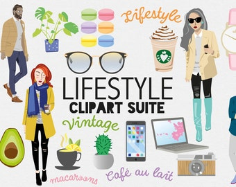 Fashion Lifestyle Clipart , Digital Female Blogger Graphics , Models , Retro Camera , Sunglasses , Daily objects , Cactus , Tea , Avocado
