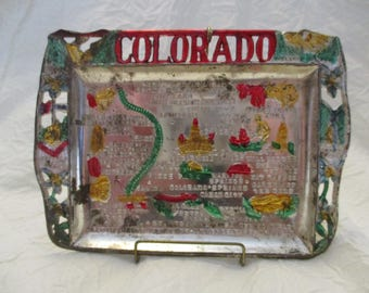 Silver Plated Colorado State souvenir ashtray