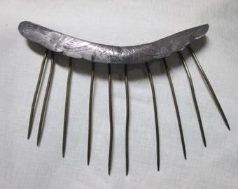Antique Silver Tiara or Shelf Comb Vintage Hair Ornament