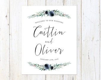 Wedding Welcome Sign, Welcome to our Wedding, Dusty Blue Wedding Sign