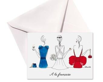Carte pliée A la française, enveloppe blanche.
