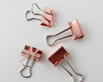 Rose Gold Planner Clips/ Gold Binder Clips/ Journalling clips